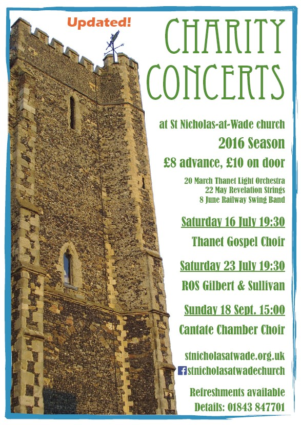 Poster for 2016 concerts at St Nicholas-at-Wade