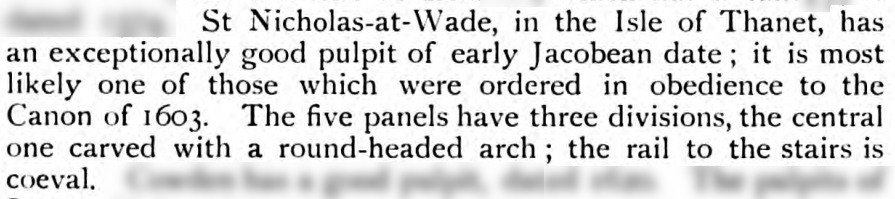 Comment on the pulpit, from 'Pulpits, lecterns, and organs in English churches, by J. Charles Cox', http://hdl.handle.net/2027/njp.32101067659191?urlappend=%3Bseq=138